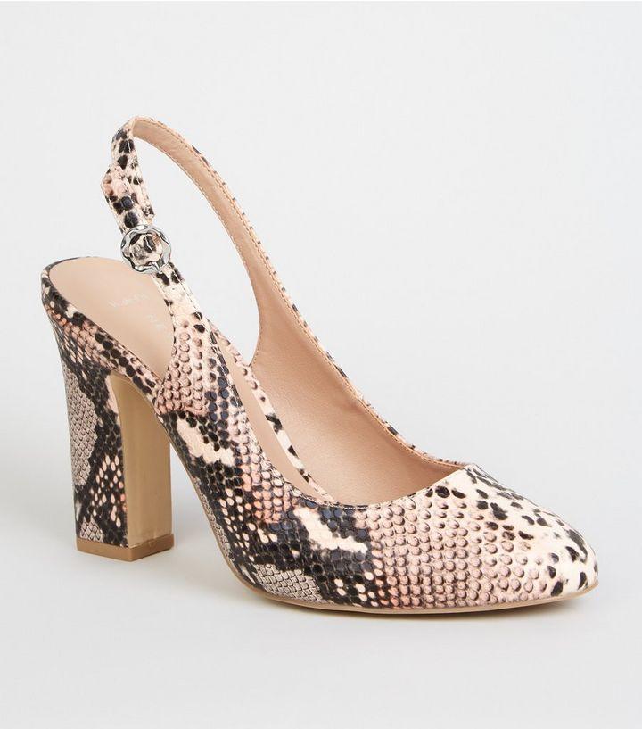 26113ca15e Wide Fit Pink Faux Snake Block Heel Slingbacks   New Look