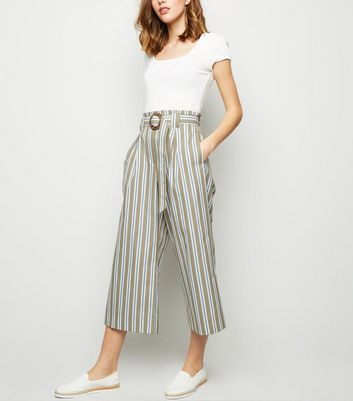 Khaki Woven Stripe Ring Buckle Crop Trousers