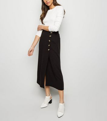 Black Linen-Look Button Up Midi Skirt