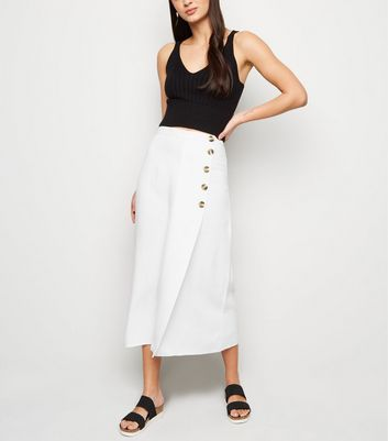 White Linen Look Button Up Midi Skirt
