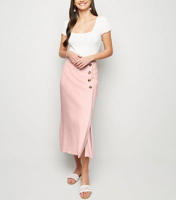 Pale Pink Linen-Look Button Up Midi Skirt
