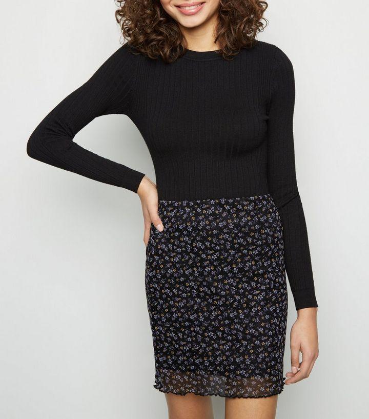 3552ee6a01 Black Floral Mesh Tube Mini Skirt