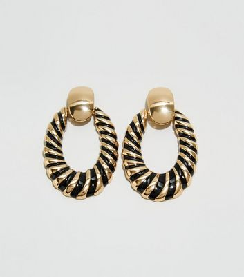 WANTED Gold Enamel Door Knocker Earrings