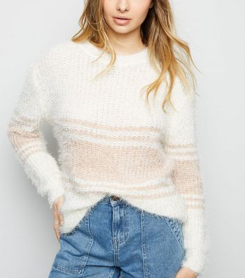 Blue Vanilla Off White Stripe Fluffy Jumper
