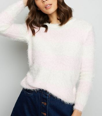 Blue Vanilla Pink Stripe Fluffy Jumper