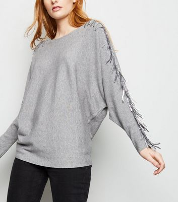 Blue Vanilla Grey Sequin Tassel Sleeve Jumper