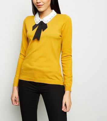 Blue Vanilla Mustard Diamanté Collar Bow Front Jumper