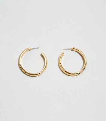 Gold Thin Leopard Print Enamel Hoop Earrings