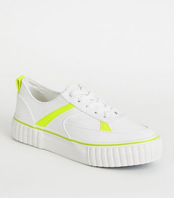 Girls White Neon Trim Flatform Trainers