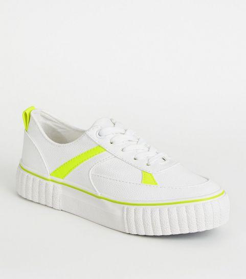 acb67866105fe ... Girls White Neon Trim Flatform Trainers ...