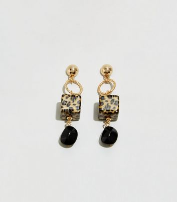 WANTED Black Animal Print Cube Drop Earrings