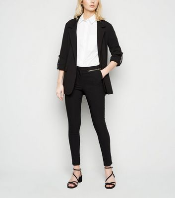 Black Zip Pocket Skinny Stretch Trousers