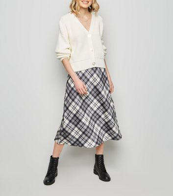 White Check Print Midi Skirt