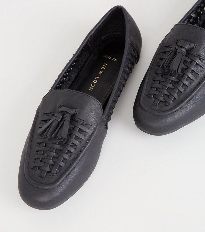 b8285808b0e92 Wide Fit Black Leather-Look Woven Loafers   New Look