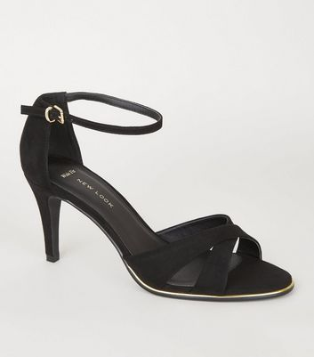 Wide Fit Black Suedette Cross Strap Heels