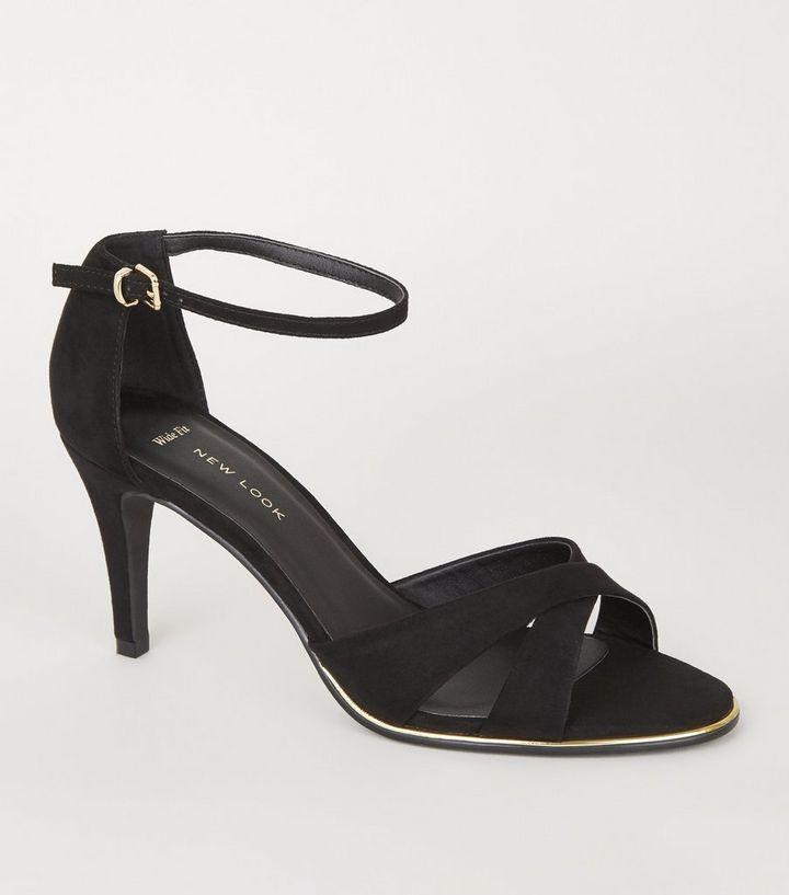 dafc6c45c6b6 Wide Fit Black Suedette Cross Strap Heels