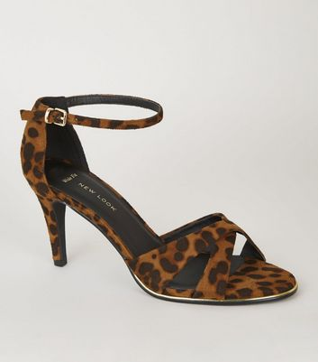Wide Fit Stone Leopard Print Cross Strap Heels