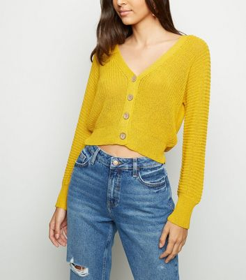 Mustard Pointelle Knit Crop Cardigan