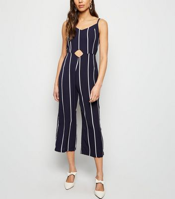 AX Paris Navy Stripe Waist Cut Out Jumpsuit