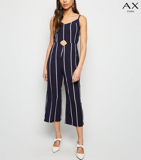 bb876f2db18 ... AX Paris Navy Stripe Waist Cut Out Jumpsuit ...