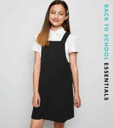 Girls Black Pinafore Dress
