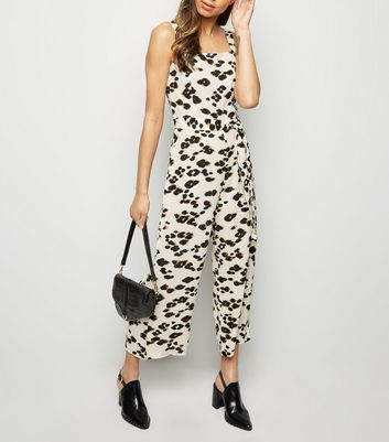 AX Paris Off White Leopard Print Culotte Jumpsuit