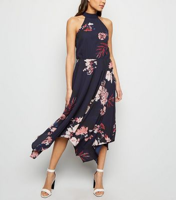 AX Paris Blue Floral Hanky Hem Dress
