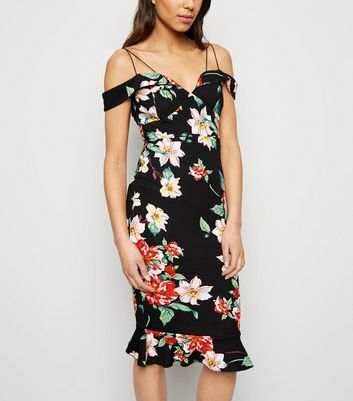 AX Paris Black Floral Cold Shoulder Bodycon Dress