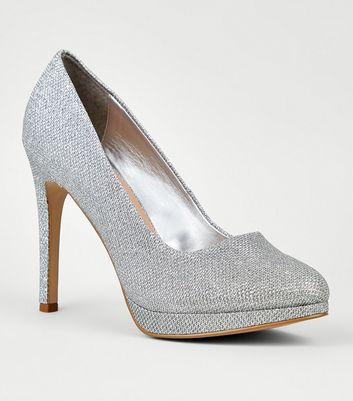 Silver Platform Pointed Stiletto Court Shoes