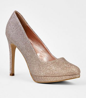 Rose Gold Glitter Platform Stiletto Courts