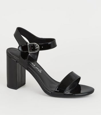 Black Patent Leather-Look 2 Part Heels