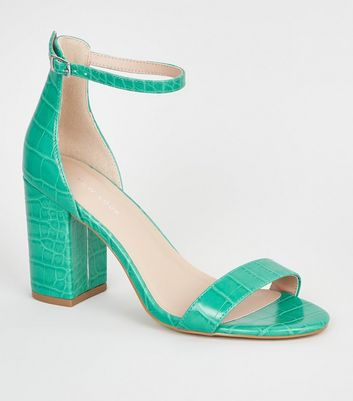 Green Neon Leather-Look 2 Part Block Heels