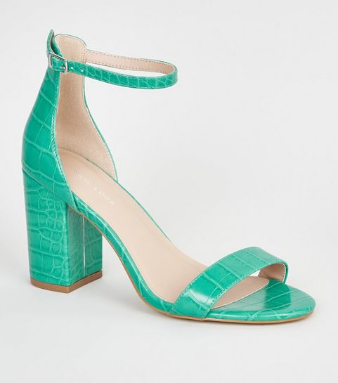 a014afb33dbe ... Green Neon Leather-Look 2 Part Block Heels ...