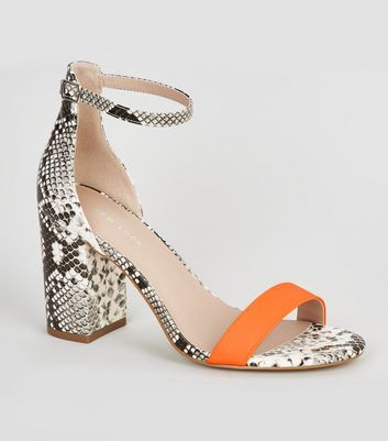 Orange Neon Faux Snake 2 Part Block Heels