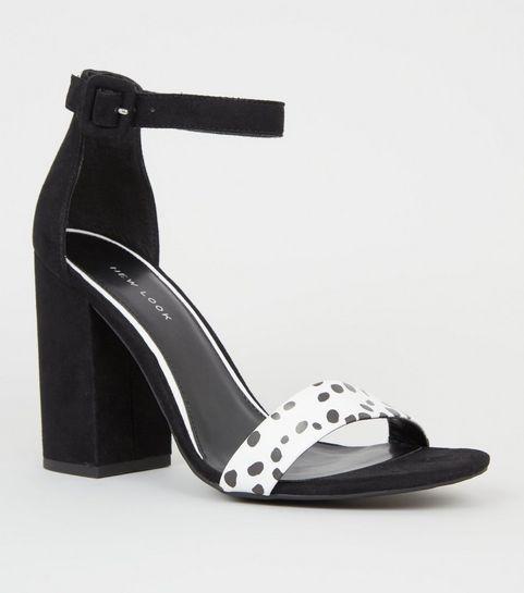 ba3e3a92c755 ... White Spot Strap Block Heel Sandals ...