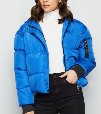 Blue Vanilla Blue Hooded Cropped Puffer Jacket