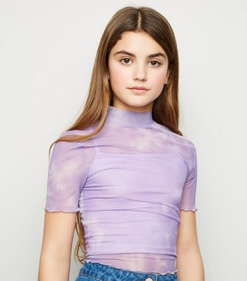 Girls Lilac Tie Dye Mesh High Neck Top