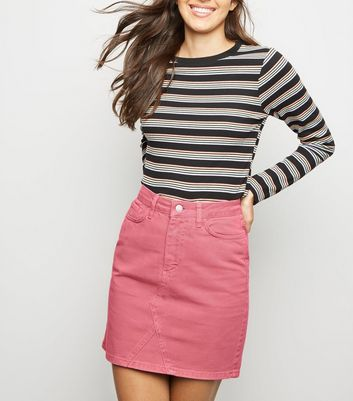 Pink Mom Denim Skirt