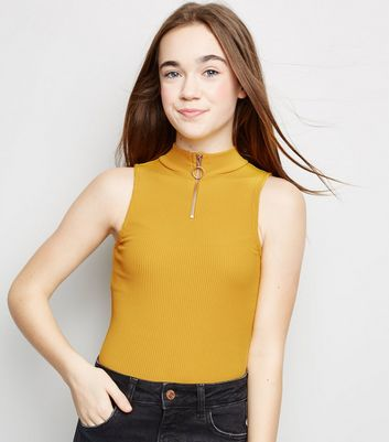 Girls Mustard Ribbed Funnel Neck Bodysuit