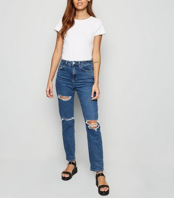 Blue Ripped Tori Mom Jeans