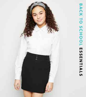 Girls Black Stretch 3 Button Skirt