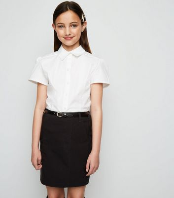 Girls Black Belted Slim Stretch Skirt