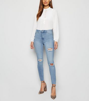 Blue Raw Hem High Waist Super Skinny Hallie Jeans