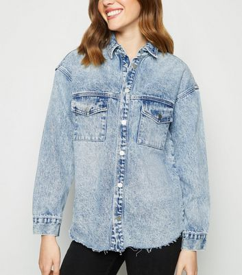 Blue Acid Wash Raw Hem Denim Shacket