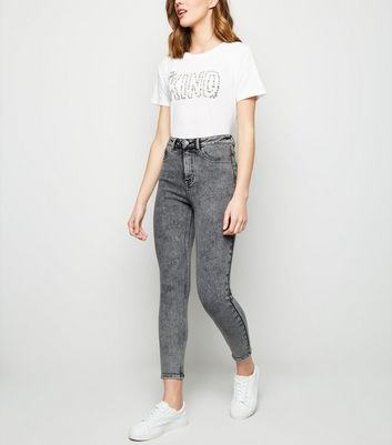 Hallie – Graue, superenge High Waist Skinny Jeans in Acid-Waschung
