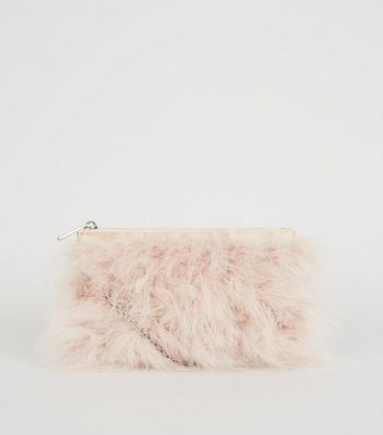 Pale Pink Feather Chain Shoulder Bag