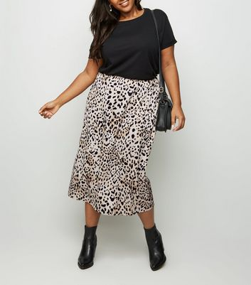 Curves Brown Leopard Print Bias Cut Midi Skirt