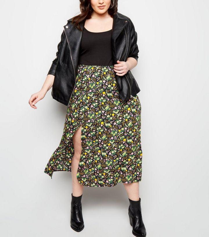f262a5c38 Curves Black Floral Side Split Midi Skirt   New Look