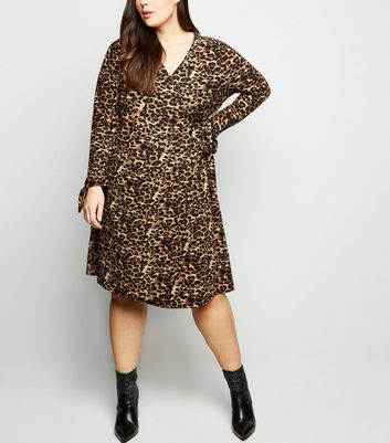 Blue Vanilla Curves Brown Leopard Print Soft Touch Dress