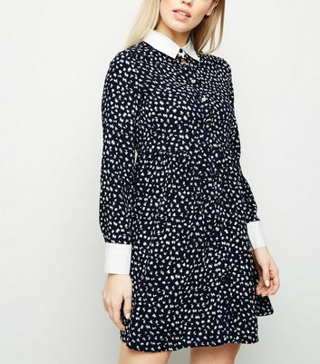 Blue Vanilla Navy Brush Stroke Shirt Dress